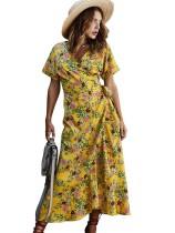 Vestido largo envuelto floral informal de verano