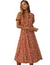 Vestido informal de leopardo de manga corta de verano