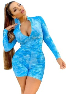 Summer Fitness Long Sleeve Tie Dye Stacked Rompers