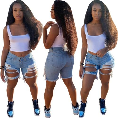 Summer Blue Ripped Denim Shorts