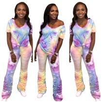 Set di pantaloni impilati colorante casual in due pezzi