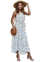 Vestido largo casual de lunares de verano