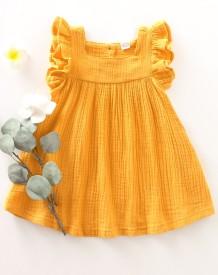 Crianças menina verão uma linha plissado vestido
