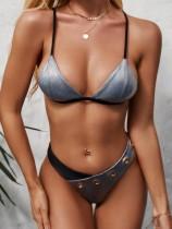 Sexy zweiteilige Kontrast-Metallic-Haken-Badebekleidung