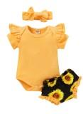 Conjunto de pantalones cortos de tres piezas para niña de verano