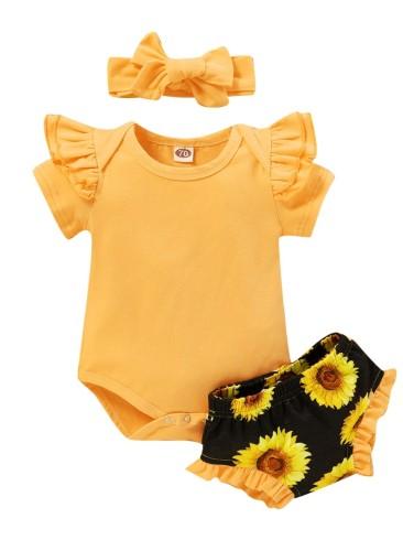 Set di pantaloncini a tre pezzi estivi per bambina