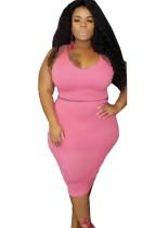 Plus Size Plain Two Piece Tight Skirt Set