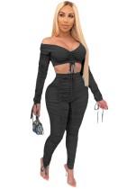 Sexy Plain zweiteilige gestapelte Hosen Set