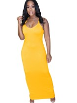 Sommer Plain Halfter Casual Long Dress