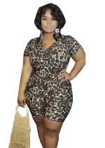 Macacão Sexy Bodycon de Leopardo Plus Size