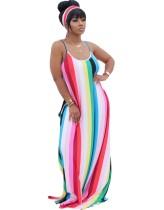Zomer strepen print riem lange maxi jurk