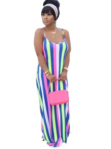 Summer Stripes Print Strap Long Maxi Dress