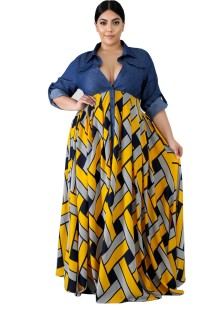 Plus Size Print Long Sleeve Maxi Dress