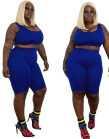 Plus Size Plain Two Piece Tight Short Set