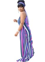 Summer Stripes Print Strap Langes Maxikleid