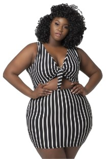 Plus Size Striped Knot Bodycon Dress