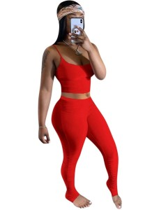 Summer Plain Color Two Piece Sexy Stacked Legging Set