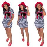 Summer Print Striped Shirt Dress