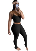 Summer Plain Color Zweiteiliges Sexy Stacked Legging Set