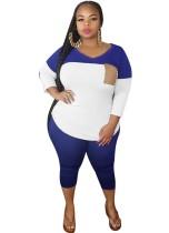 Plus Size Summer Contrast Pants Set