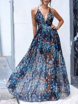 Vestido formal largo floral halter azul sexy