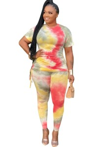 Plus Size Summer Two Piece Tie Dye Pants Set