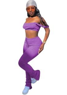 Conjunto de pantalones apilados sexy de dos piezas de color liso de verano