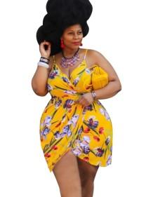 Vestido cruzado floral con tirantes de verano de talla grande