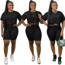 Plus Size Summer Two Piece Plain Short Set