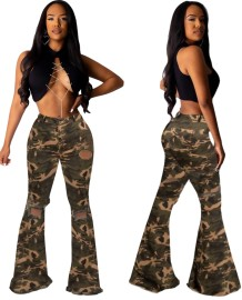 Camou Print High Waist Ripped Flare Jeans