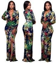 Sexy Langarm-Abendkleid mit Blumenmuster und tiefem V-Schlitz