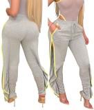 Fashion Drawstring Slit Stracked Track Hose