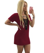 Summer Lace Up Mini Shirt Dress