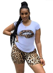 Summer Casual Two Piece Leopard Shorts Set