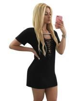 Mini vestido camisero con cordones de verano