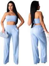 Conjunto de pantalones y top corto de verano de color sólido sexy
