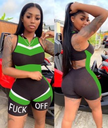 Summer Sports Sleeveless Cut Out Fitness Rompers