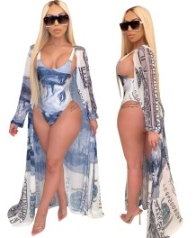 Money Print Sexy One Piece Bikini with Matching Cover Up