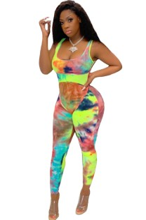 Sexy Tie Dye Sleeveless Bodycon Jumpsuit