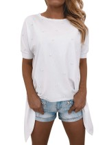 Yaz Beyaz Boncuklu Gevşek Gömlek