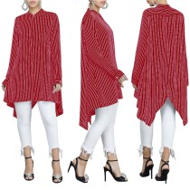 Long Sleeve Striped High Low Long Blouse