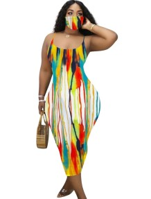 Summer Tie Dye Straps Midi Dress with Face Cover