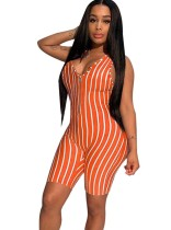 Sports Striped Sleeveless Bodycon Zipper Rompers