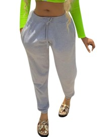Solid Color Drawstring Track Pants