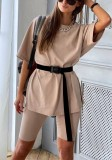 Summer Casual Two Piece Short Set with Belt