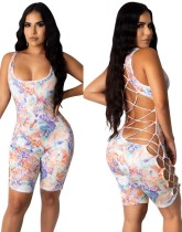 Summer Sexy Lace Up Print Bodycon Rompers