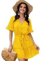 Sommer Kurzes Kleid mit V-Ausschnitt und Punktdruck und Gürtel
