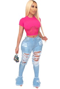 Sexy High Waist Ripped Flare Jeans