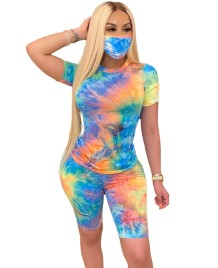 Summer Tie Dye Two Piece Short Set with Face Cover