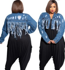Plus Size Long Sleeve Tassels Denim Jacket